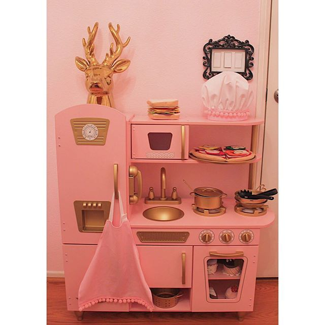 #kidkraftkitchen pink and gold makeover! ⭐️ #decor # ...
