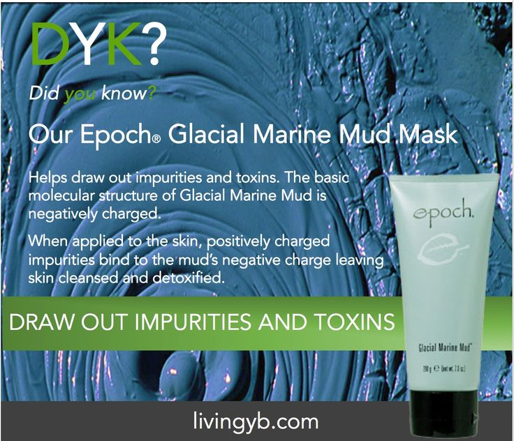Did you know our Glacial Marine Mud Mask helps draw out impurities and toxins. The basic molecular structure of Glacial Marine Mud is negatively charged.   When applied to the skin, positively charged impurities bind to the mud's negative charge leaving skin cleansed and detoxified.