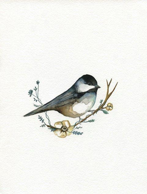 Sweet Chickadee / Flower Bird / Spring /  Bird / Watercolor Print / Winter Bird / Nursery Art / Woodland