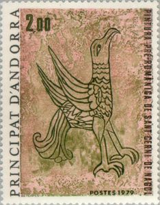Eagle (pre-Romanesque fresco in Sant Cerni de Nagol)