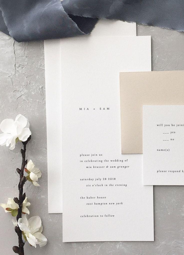 wedding invitations atlanta%0A Minimalist wedding invitation Mia Wedding Invitation August and White