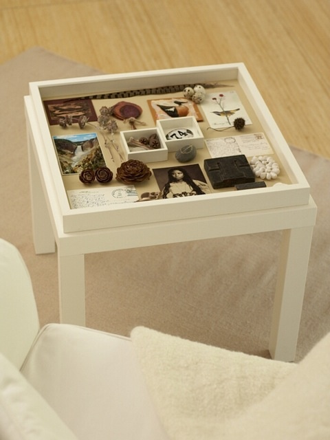 The best part about this homemade memory box table top is that you can always make the shadow box removable so you can switch out the contents depending on your decorations for seasons/holidays.