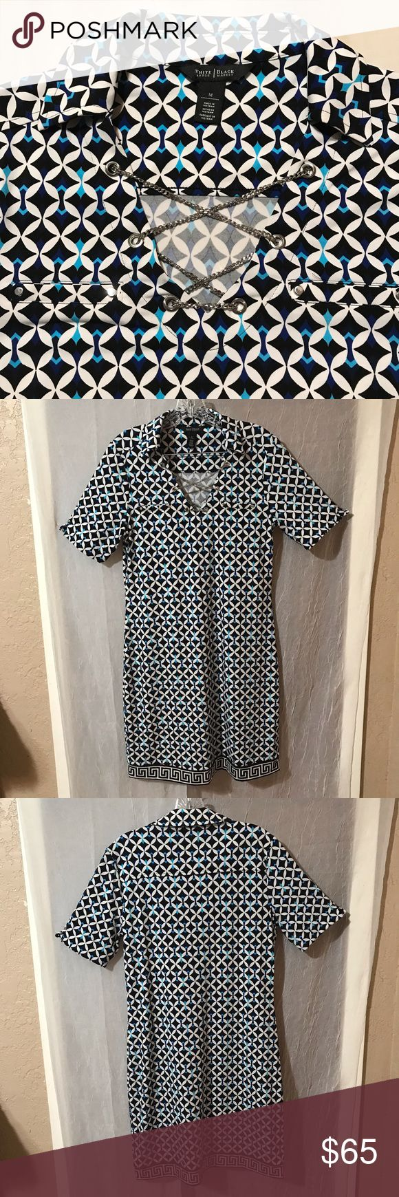 WHBM Collard Caged V Neck Diamond Print Dress SZ M White House Black Market Coll…