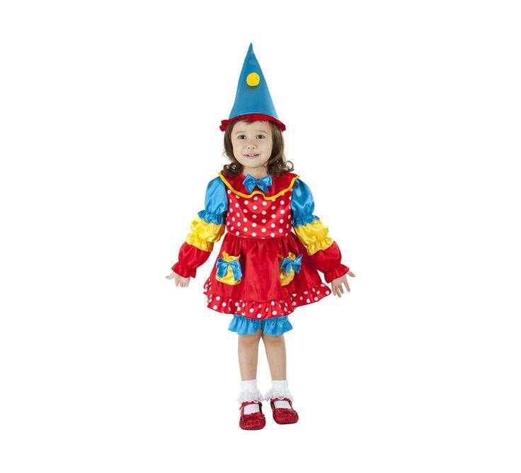 El disfraz de dulce payasita niña, incluye Vestido, pantalón y gorrito en DisfracesMimo.com
