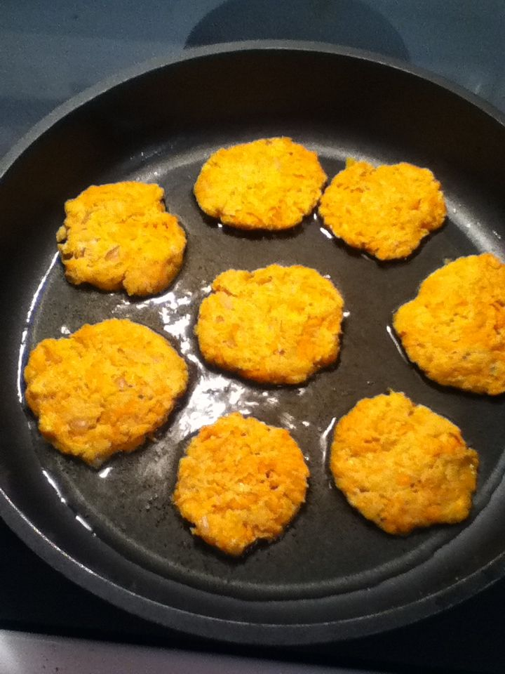 Sweet potato,cheese and honey pancakes