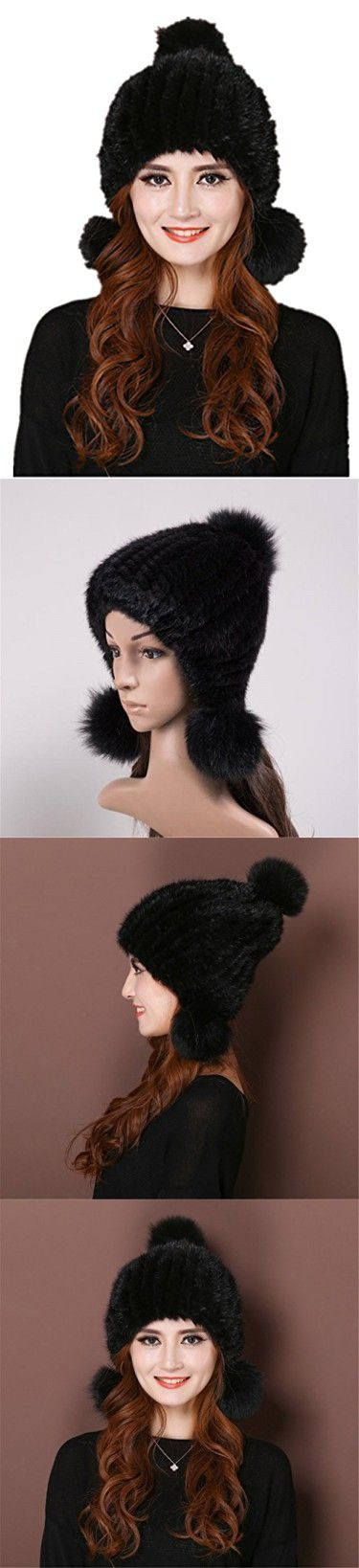 Baju Woman's Winter Mink Skin Fox Fur Trapper Bomber Hat (Black)