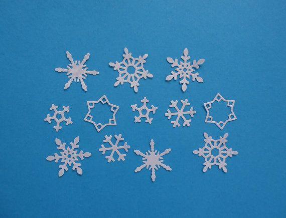 12 petit flocon de neige découpes pour le Scrapbooking cartes et papier artisanat neige gelé hiver embellissements