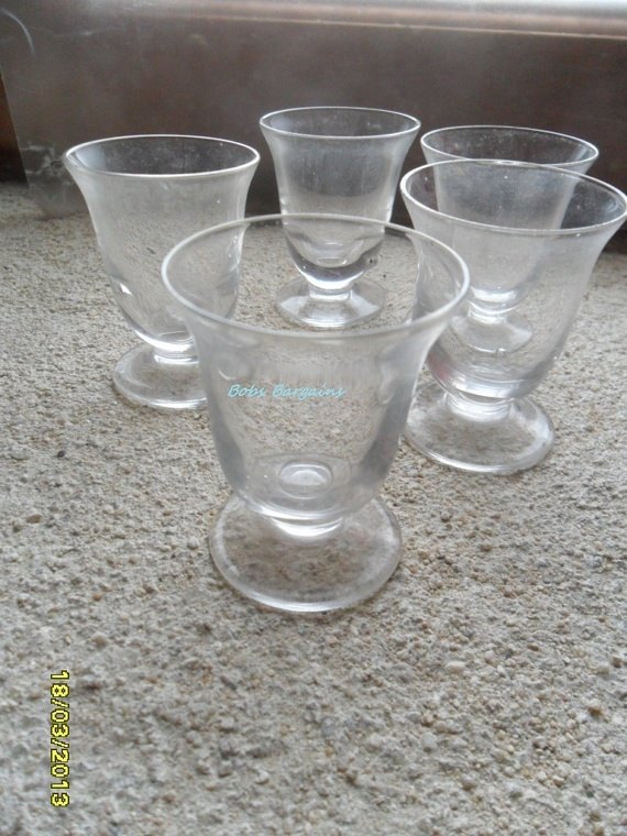 Set of Five Shot Glasses  Found In France by GlassEyedGoblin, €15.00
