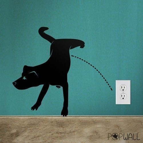 Wall Decals Wall Sticker Art Animal Decal   Naughty Dog Pissing   013.  $25.00,