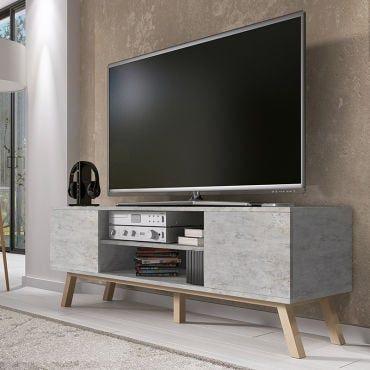 Meuble Tv Vero Bois 150 Cm Béton Pieds De Hêtre Huilé