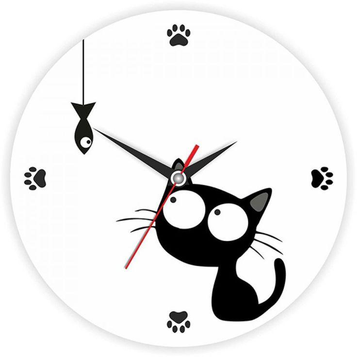 Часы Котенок с рыбкой d=28см стеклянные – купить с доставкой по Москве, Санкт-Петербургу и России. Фото, цена, отзывы!
