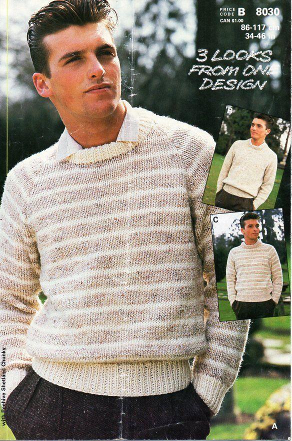 Mens Plain Sweater Knitting Pattern - Sweater Vest