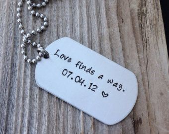 Custom dog tag hand stamped stainless steel military dog tag gift for him  deployment gift