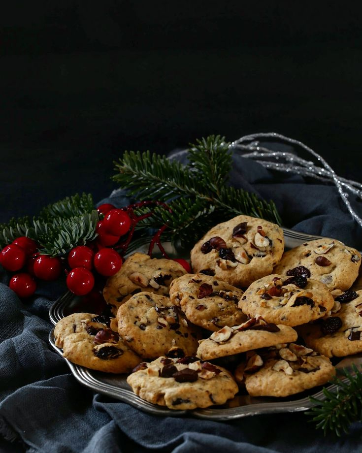 Freckled cookies with nuts, raisins and chocolate  Ciasteczka pieguski