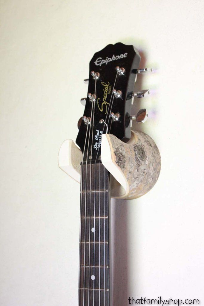 Wall-Mounted Log Guitar Hanger with Bark, Rustic Accessory for Musician, Banjo, Mandolin Player