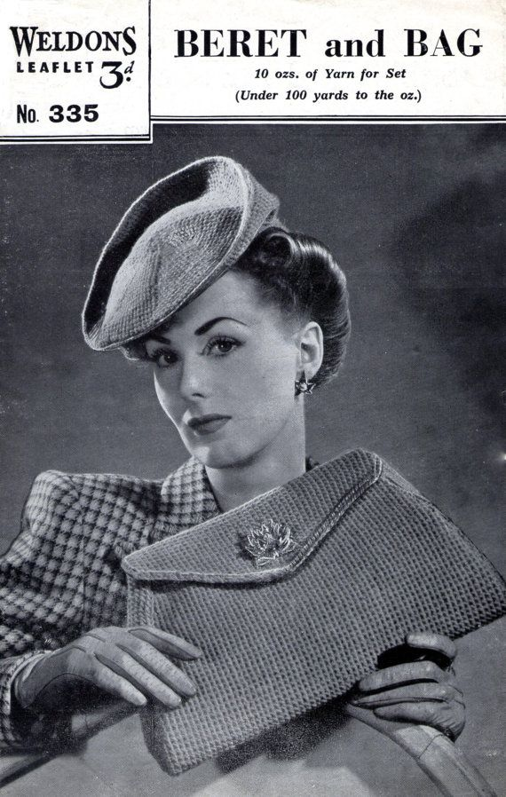 Vintage Knitting Pattern 1940s Tilt Hat Beret by PamoolahVintage, $3.50  NOT crochet. Check out the nifty line drawing-- it WILL stay on.