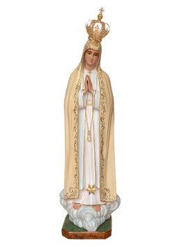 Madonna di Fatima  altezza cm. 180 in vetroresina dipinta con colori acrilici e finiture ad olio disponibile anche con occhi di vetro  http://www.ovunqueproteggimi.com/collezione-statue/madonne/fatima/