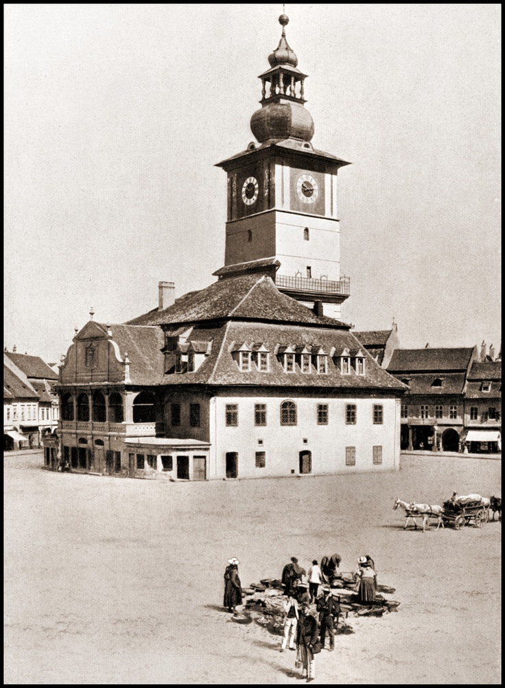 Vintage photograph of a Town Hall in Brasov in Romania - 1905