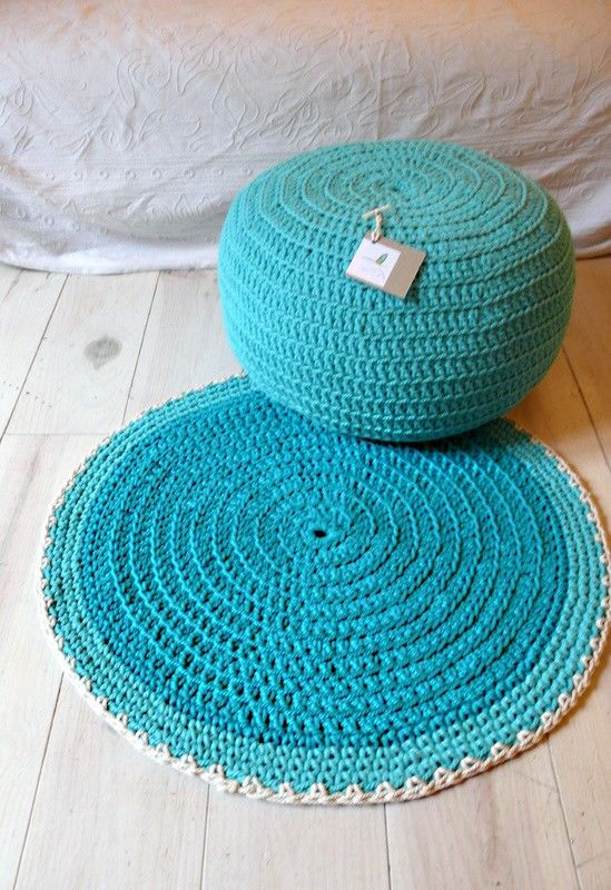 Round Rug floor crochet  small by lacasadecoto on Etsy, €26.00