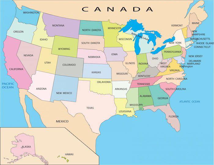Cartina politica degli USA