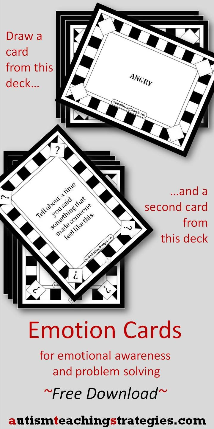 Here is a fun, flexible card activity to use with kids who are working on emotional awareness and emotional problem solving.  There are 44 Emotion Word Cards and 48 Question Cards.  Free download.  Tags: autism, ASD, social skills game, emotional awareness.  - repinned by @PediaStaff – Please Visit ht.ly/63sNtfor all our pediatric therapy pins