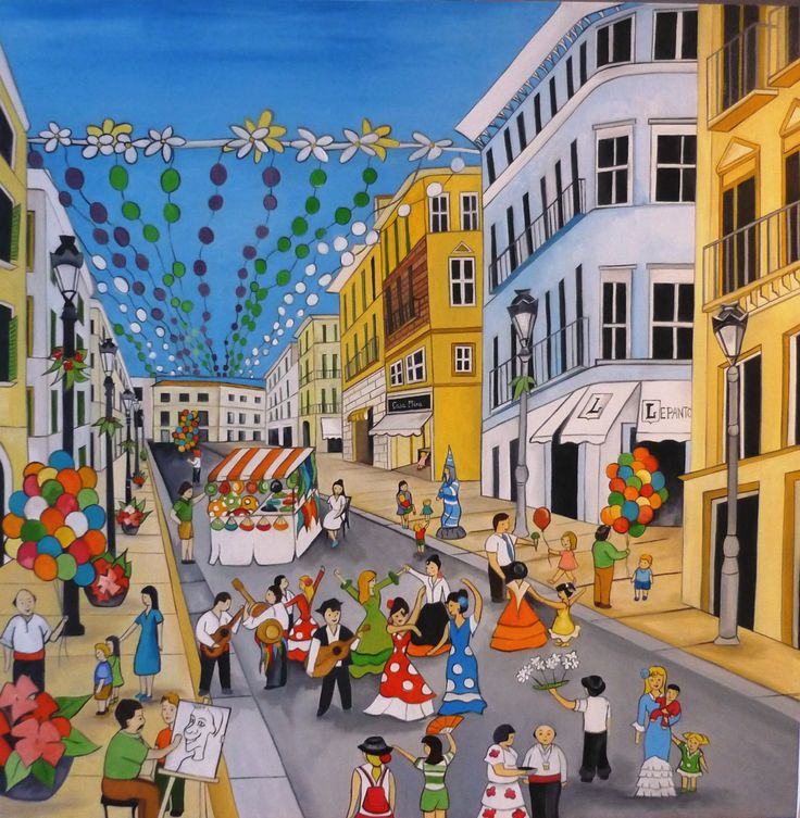 Feria de Málaga  80x80 cms  Óleo sobre lienzo