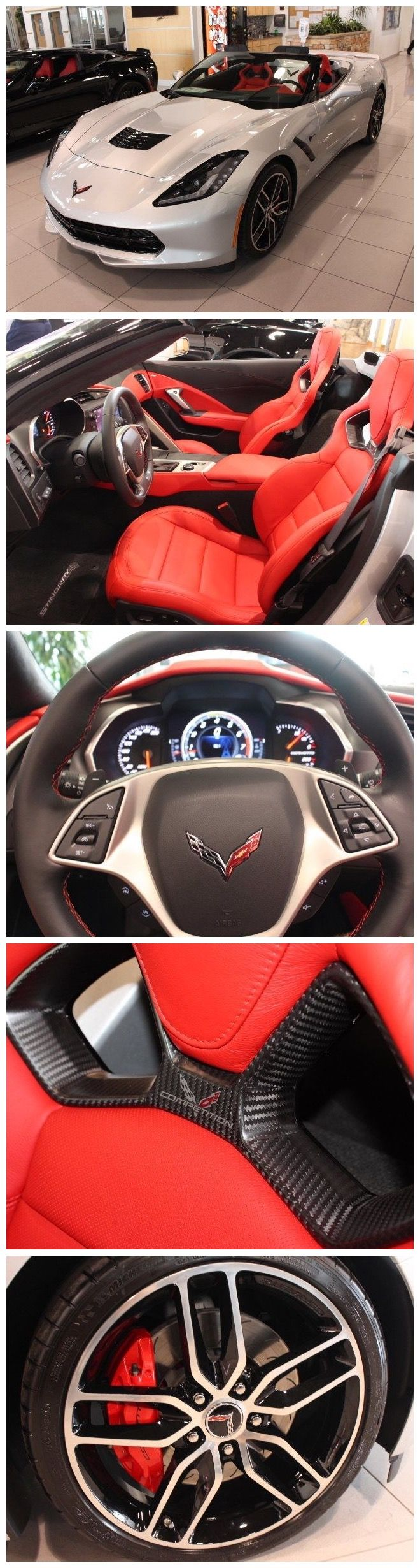 2016 Chevrolet Corvette Stingray Z51 - 2D Convertible, 6.2L V8, RWD, Blade Silver Metallic, Adrenaline Red w/Leather Seat Surfaces w/Sueded Microfiber Inserts, and Navigation System.