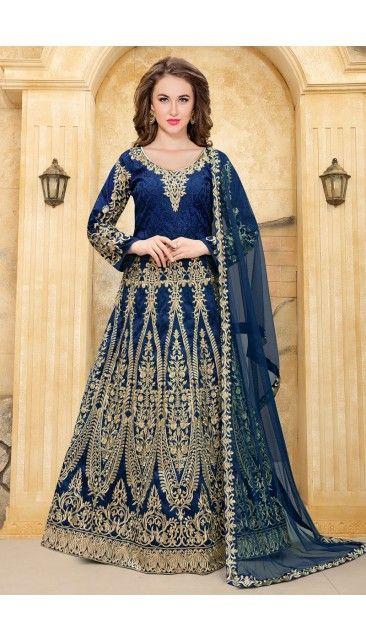 Blue Taffeta Anarkali Churidar Suit With Dupatta - DMV14915