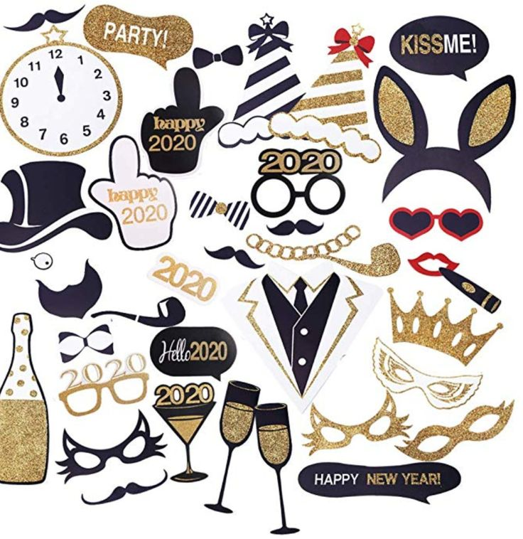 2020 New Year's Photo Booth Props Kits (Pk40) New Years