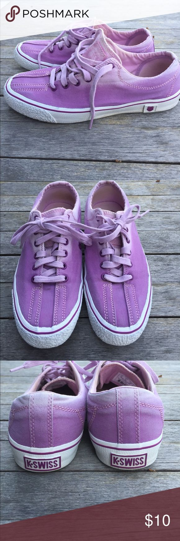 Womens K Swiss sneaker Women's K Swiss sneaker, size 8 1/2, purple with fading around ankle. Signs of minor wear, but an allall-around cute comfy casual sneaker. K Swiss Shoes Sneakers