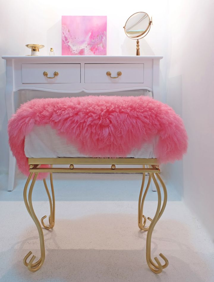 Melissa Mercier Designs. #pink #sheep #skin #solor #bright #magenta #vanity #white #gold #stool #bench #mirror #painting #walkin #closet #hair #soft #girlie
