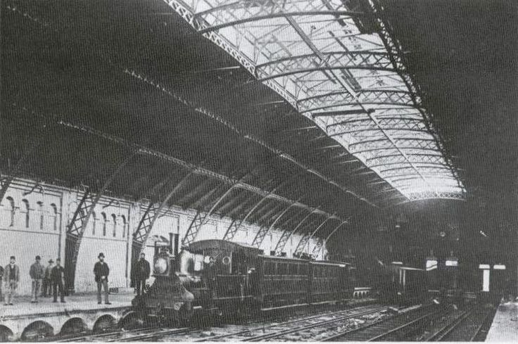 Cape Town station in 1875. Note the dual gauge tracks, 4 ft 8½ in broad gauge and 3 ft 6 in Cape gauge.