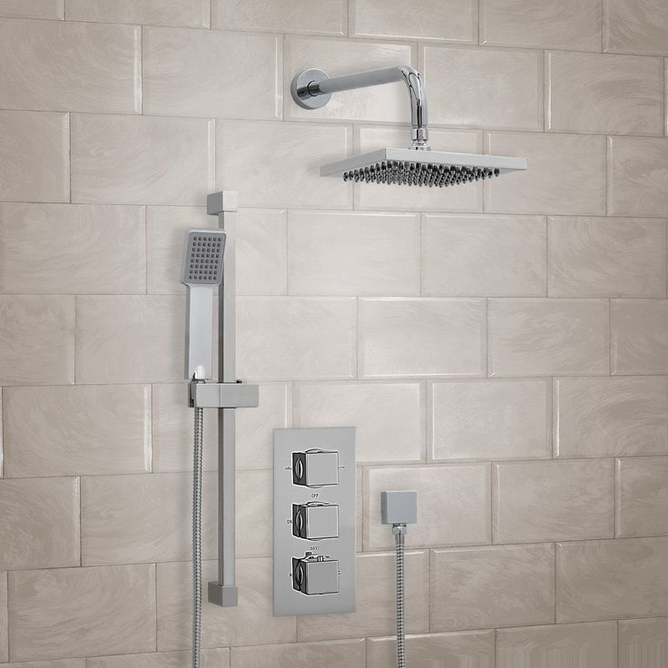 fixed head and square shower handle