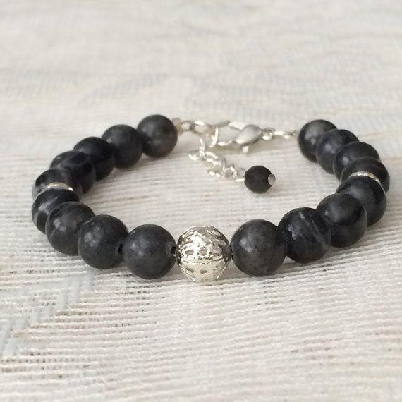 Grey Jasper Bracelet by BellaBoutiqueCrafts