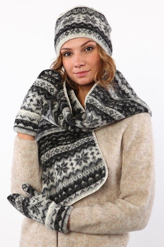 Black Grey White Hat Scarf And Mittens Set Made of Soft Icelandic Wool  #Unbranded #HatScarfAndMittensSet