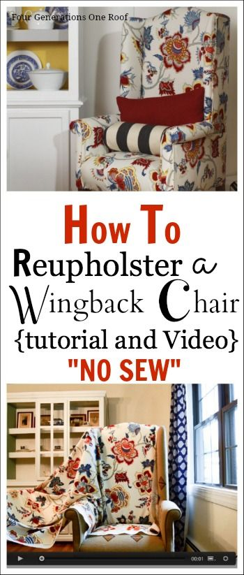 How to reupholster a chair {tutorial + video} No Sew #DIY #Reuphoster by Jessica www.fourgenerationsoneroof.com @Mandy Bryant Dewey Generations One Roof