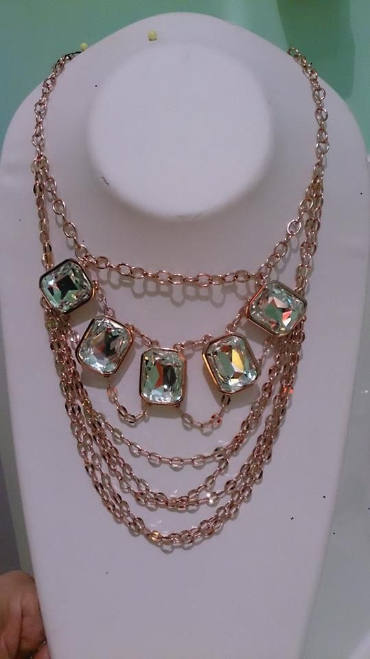 """$ 98.95 GO FOR THE BOLD Lift up your spirits and turn heads, but most importantly, shake it up baby and turn it on! Clasp on this stunning neckpiece featuring five large scissor cut clear crystals nestled between six shimmering open-loop chains.  17"""" Neckpiece with 2"""" extension Nickel, lead and cadmium free."""