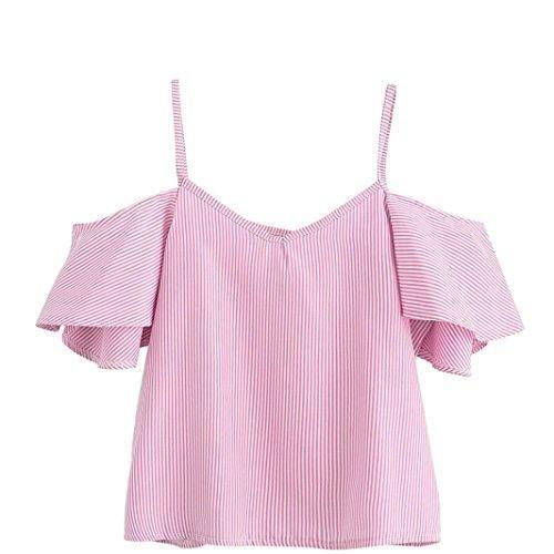 Oferta: 1.99€. Comprar Ofertas de Goodsatar Mujer Verano Casual Rayado Nylon Blusa Parte superior del hombro frío (S, Rosado) barato. ¡Mira las ofertas!