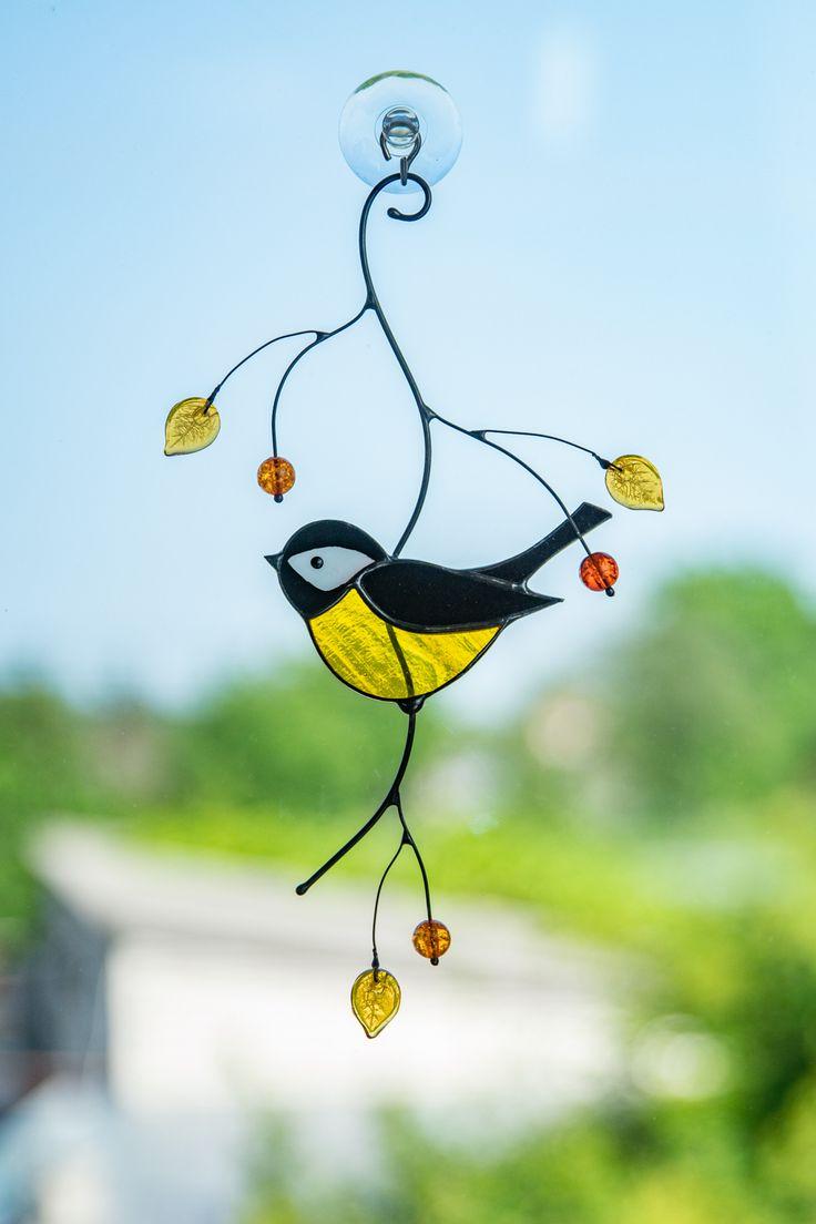 Chickadee stained glass art bird stained glass window
