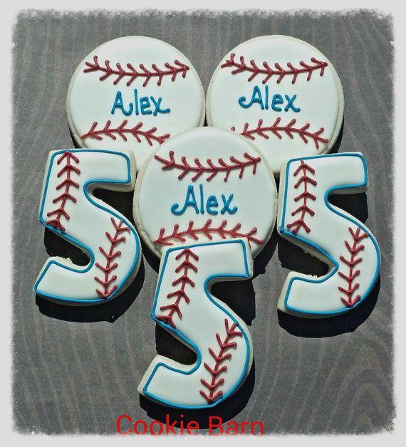Personalized Birthday Cookies | Baseball Sport Birthday Custom Decorated Cookies by CookieBarn