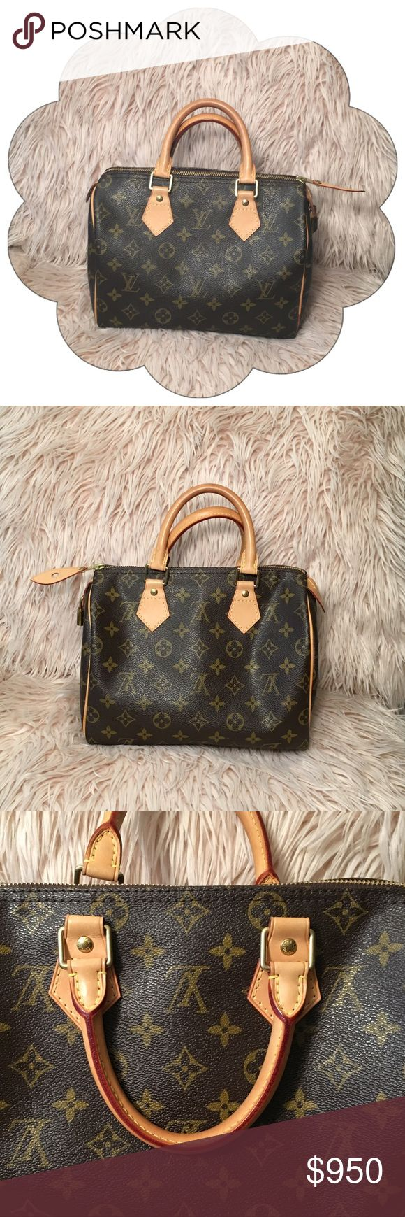 """Authentic Louis Vuitton Speedy 25 Monogram Canvas PRICE FIRM 100% Authentic Louis Vuitton : Date Code SD3099 : Monogram Canvas & Leather : 9.8"""" x 7.5"""" x 5.9"""" : ALMOST LIKE NEW (no stains inside or out & handles are barely starting to patina) : Bag, lock & dustbag included (Original Louis Vuitton Dustbag included, just not pictured) : Original Price $950 NO BUNDLE DISCOUNT NO TRADES Louis Vuitton Bags Satchels"""