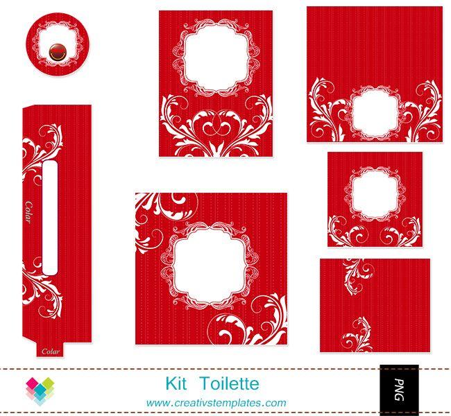 Kit Toilette Vermelho Floral Mod 107 Kit Toalete
