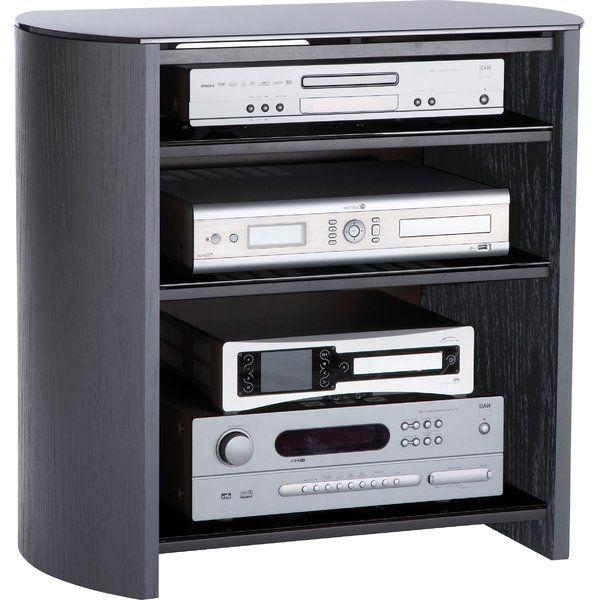 Dieses TV-Rack begeistert mit seiner abgerundeten Form und die Regalböden aus Klavierglas.