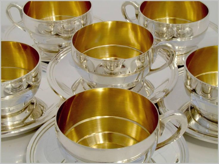 IMAGES GOLD AND SILVER CUPS AND SAUCERS | ... Sterling Silver 18k Gold Six Tea Cups and Saucers For Sale at 1stdibs