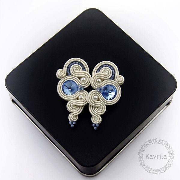 Lady light blue soutache - kolczyki ślubne sutasz KAVRILA #sutasz #kolczyki #ślubne #rękodzieło #soutache #handmade #earrings #wedding #ivory #lightblue #kavrila