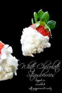 White chocolate strawberries dipped in crumbled soft peppermint candy #strawberries #valentinesday #recipe