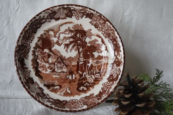 Decorative Brown Toile Transfer Ware Plate / Made in Japan / Vintage Collectible 1960's by OriginalVintageGypsy on Etsy