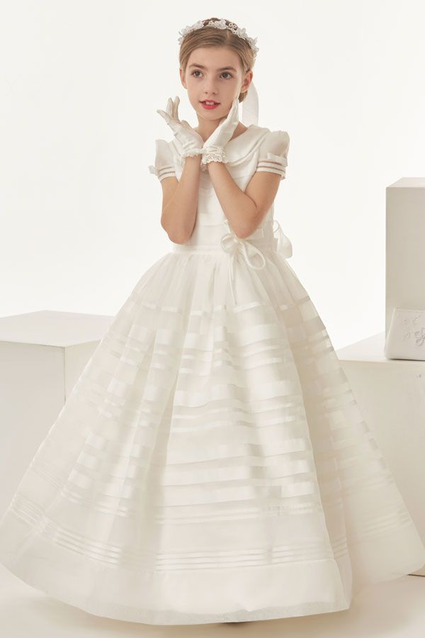 Organza Ball Gown Bow(S) Short Sleeved Communion Dress