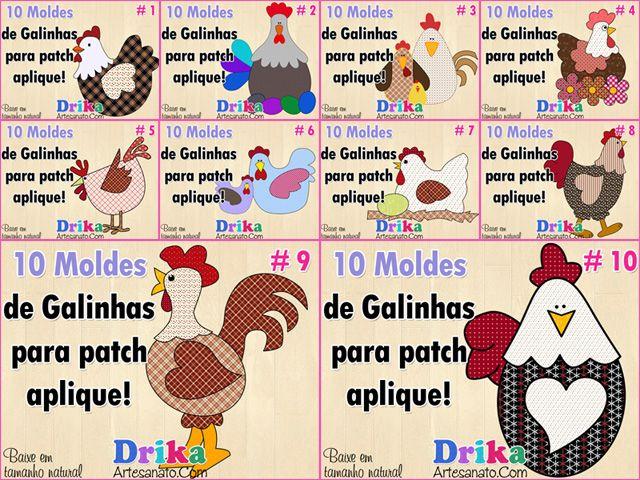 Apliquê galinhas - moldes no link... http://drikaartesanato.com/2014/05/10-patchwork-moldes-de-galinhas-para-patch-aplique.html