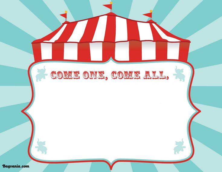 Nice Free Printable Circus Birthday Invitations Template
